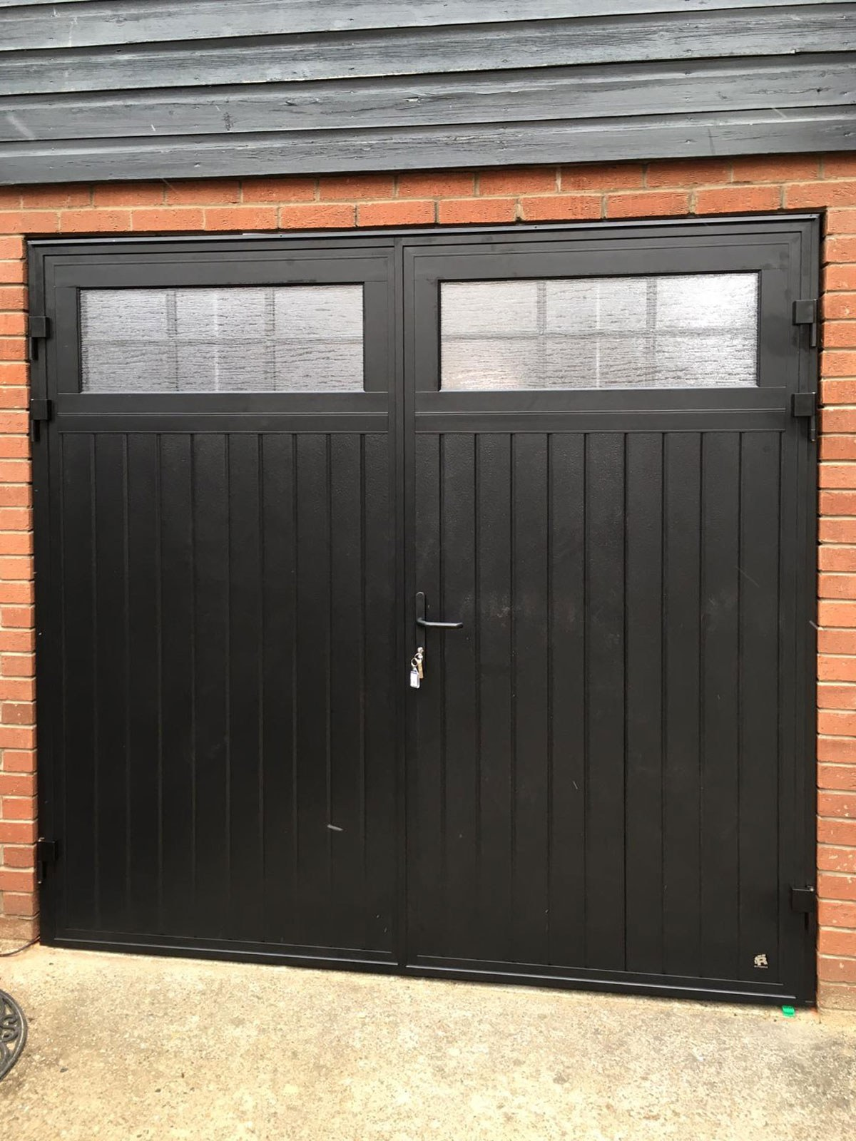 Black Standard Ribbed Insulated Side Hinged Garage Door, Bolton