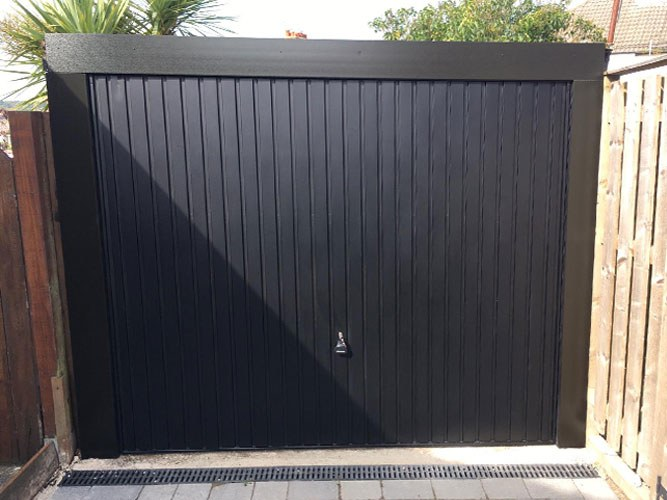 Carlton Steel Up & Over Garage Door in Black, Bolton