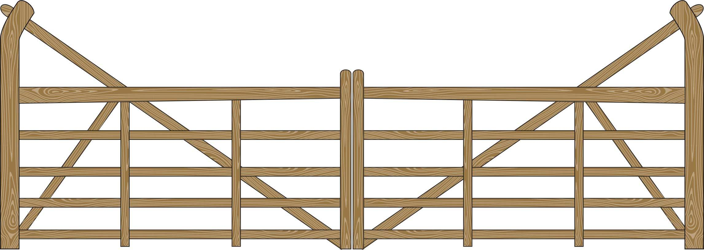 Oxley Gates Wooden 5 bar illustration