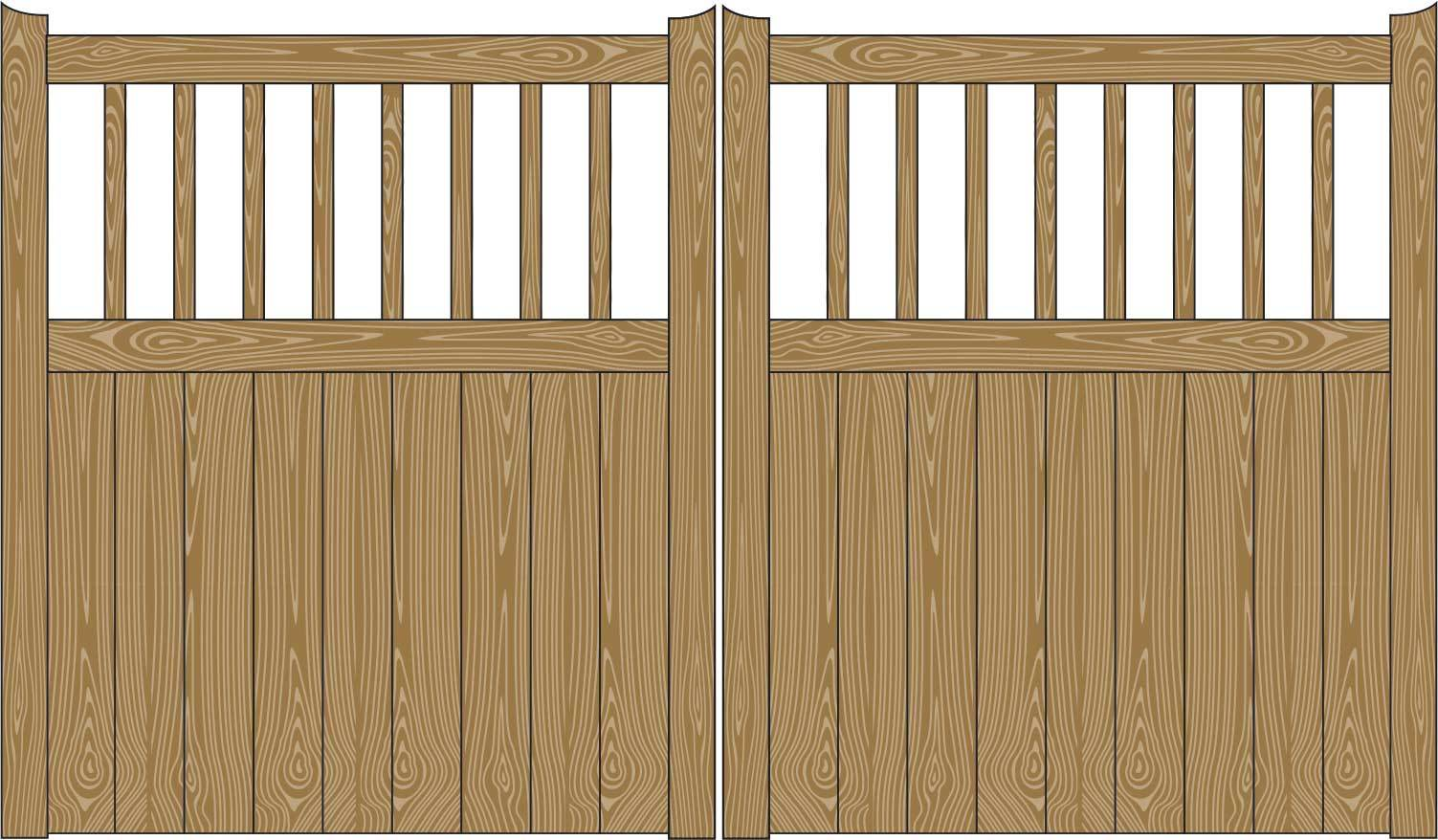 Oxley Gates Wooden Beverley Railed illustration
