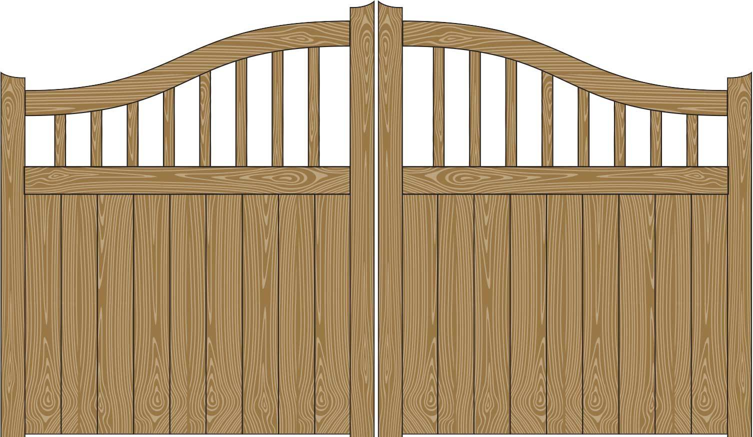 Oxley Gates Wooden York Railed Illustration