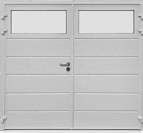 Traditional Centre Ribbed Horizontal - Woodgrain White - Plain Window Option