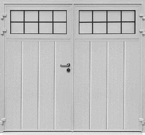Traditional Centre Ribbed Vertical - Woodgrain White - Mock Leaded-Effect