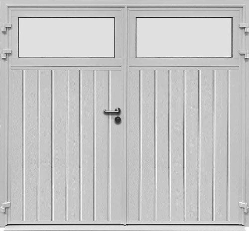 Traditional Standard Ribbed Vertical - Woodgrain White - Plain Window Option