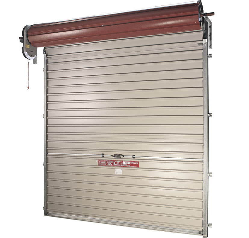 Oxley Single skin steel roller garage door shown from the inside with motor drive