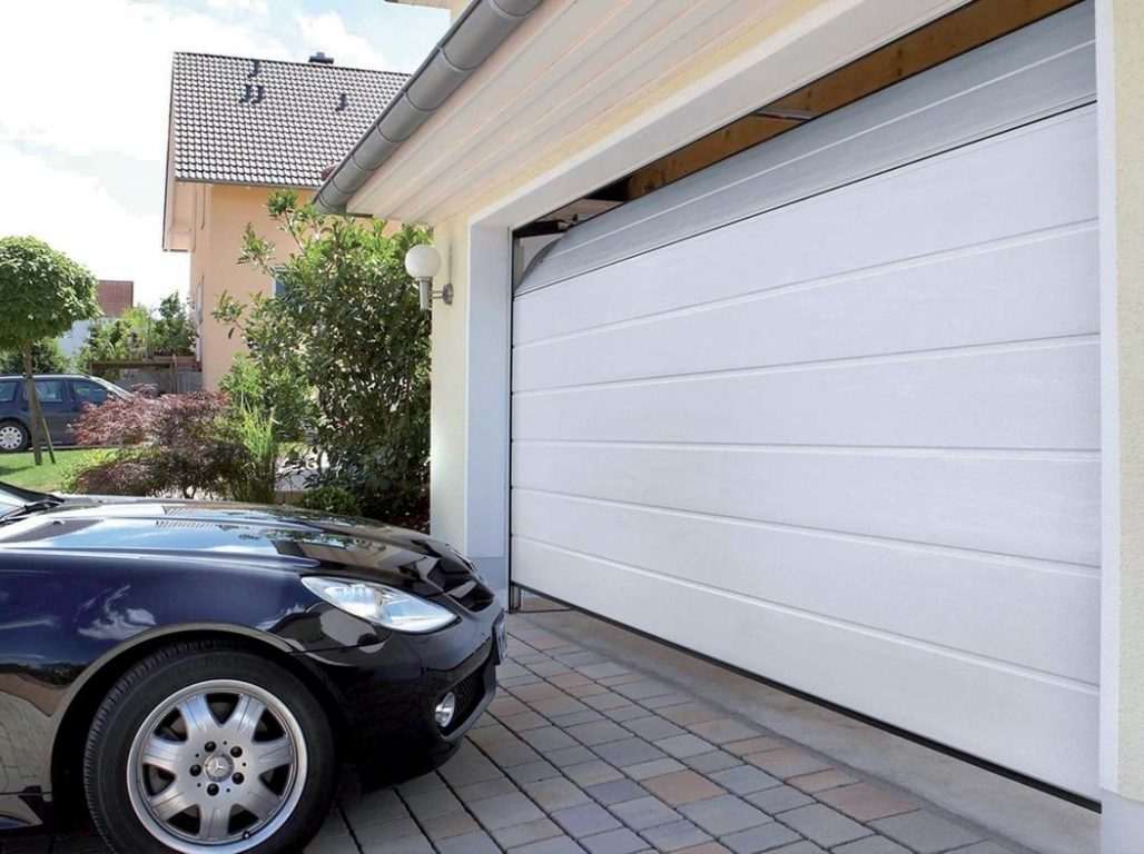 Classic Oxley white medium ribbed double sectional garage door