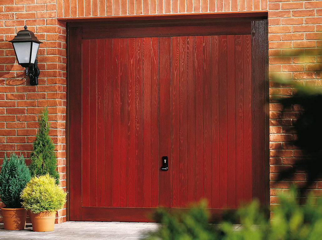 Composite up & over garage door, Swinton design in Red Mahogany