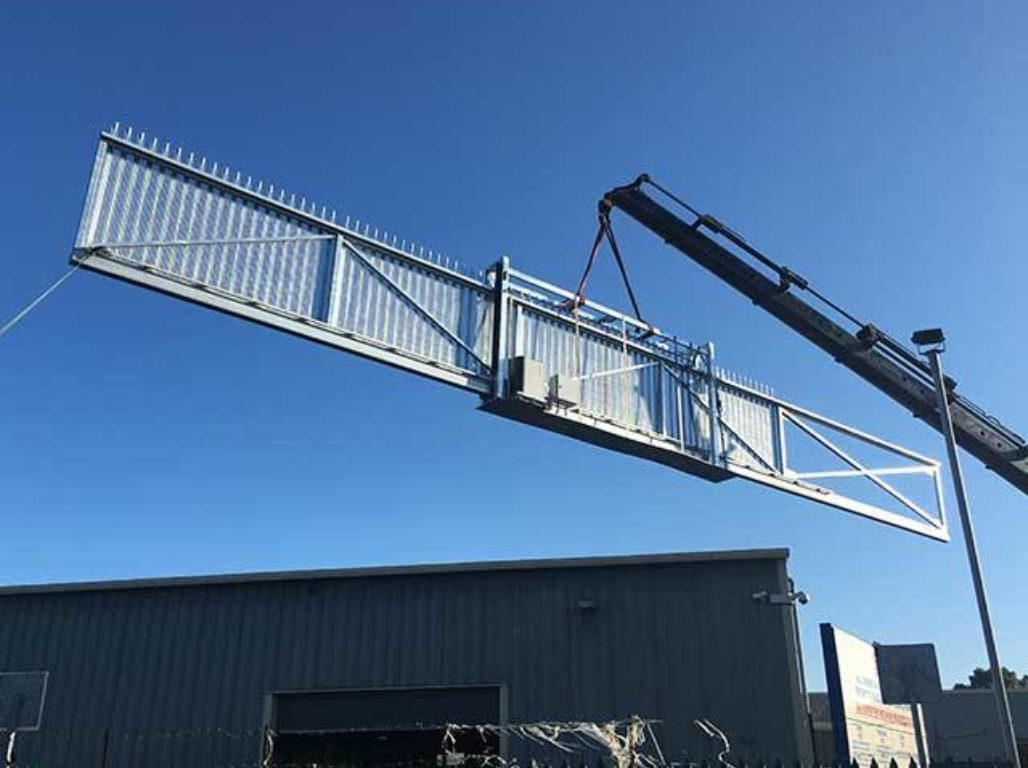 Oxley Gates manufactured this massive cantilever gate in our own fabrication workshop here in Hull
