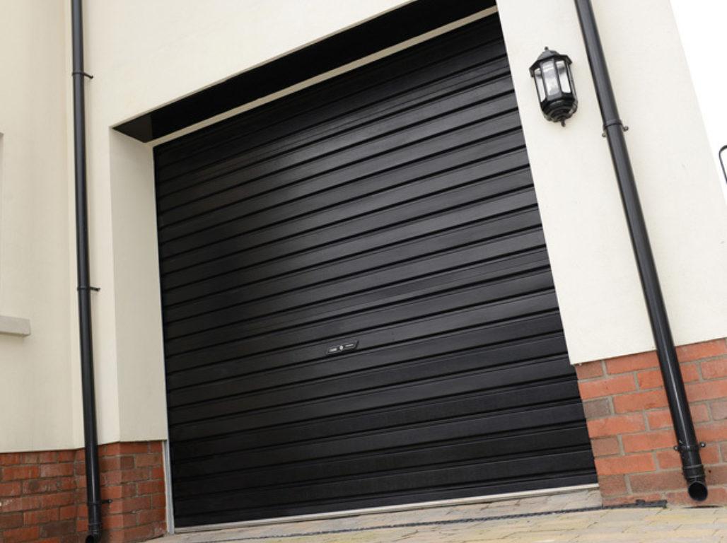Oxley Single skin steel roller garage door in Black
