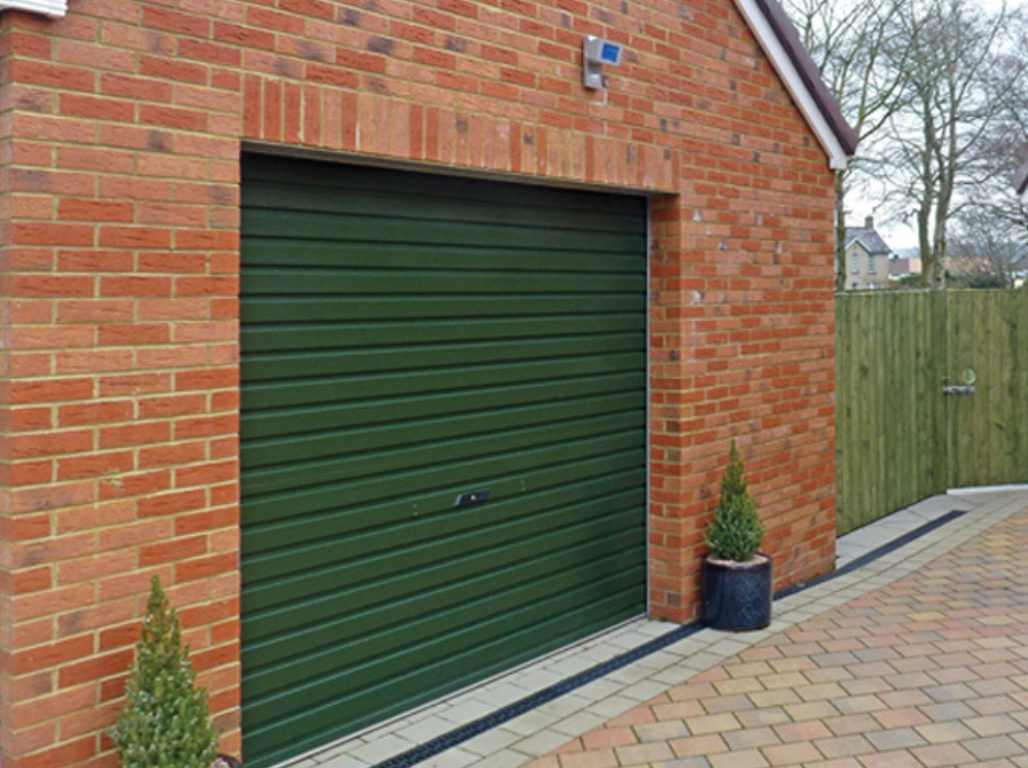 Oxley Single skin steel double roller garage door in Juniper Green