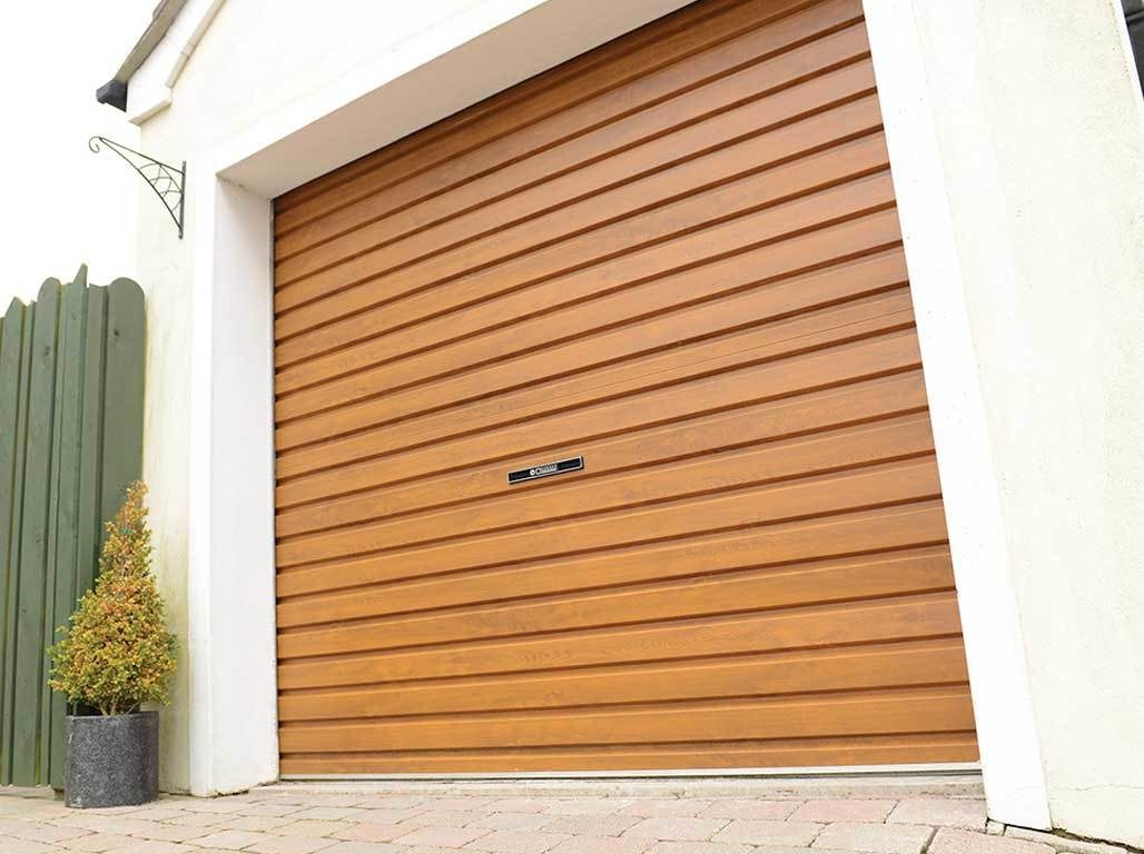Oxley Single Skin Roller Garage Door in Golden Oak Finish