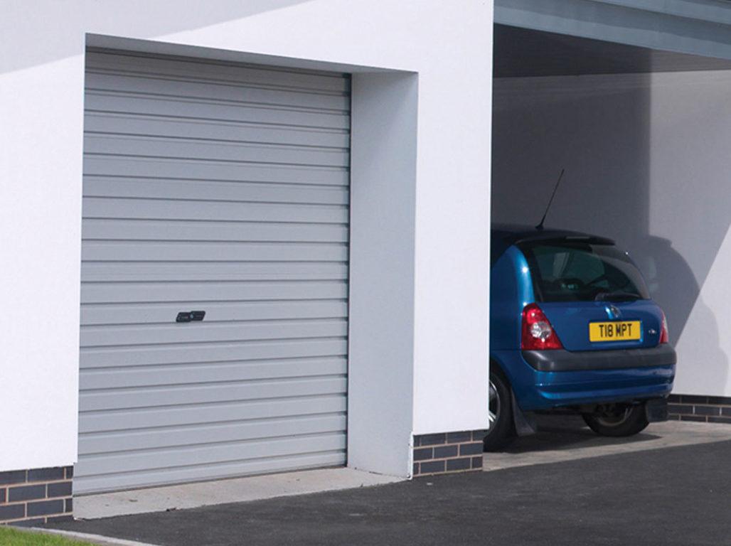 Oxley Single skin steel roller garage door in Goosewing Grey