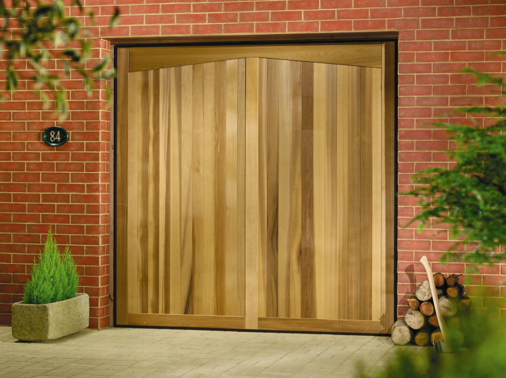 Timber up & over garage door, Barrington design in Light Oak