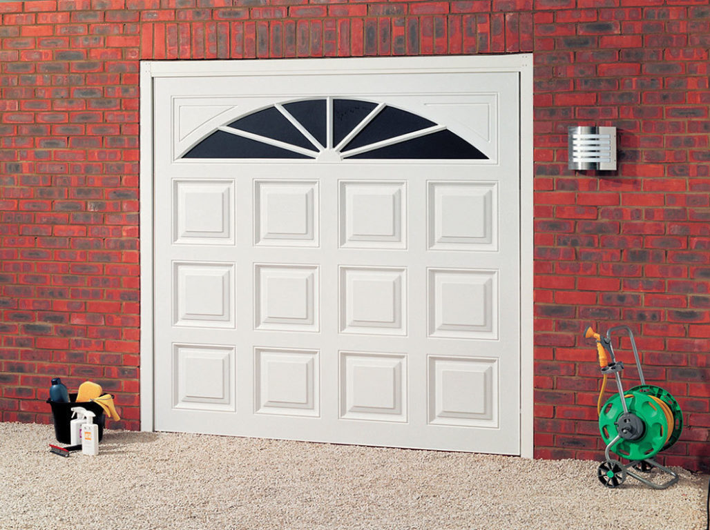 UPVC up & over garage door, President design in white