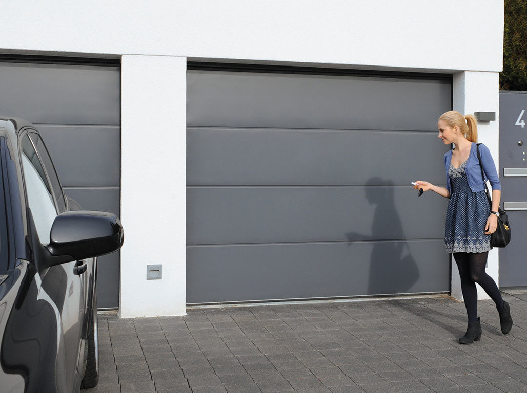 Oxley insulated sectional garage door solid design in Anthracite Grey