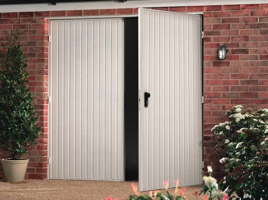 Oxley steel side hinged garage door Carlton design in Traffic White