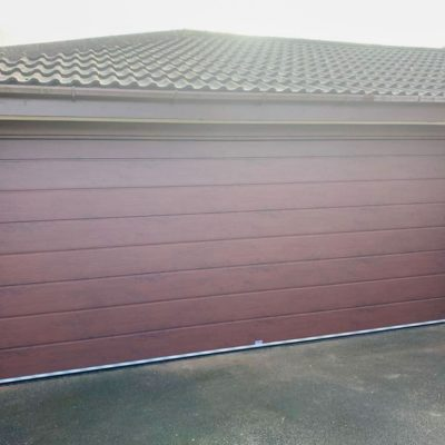 Centre Ribbed Rosewood Insulated Sectional Garage Door, Warrington