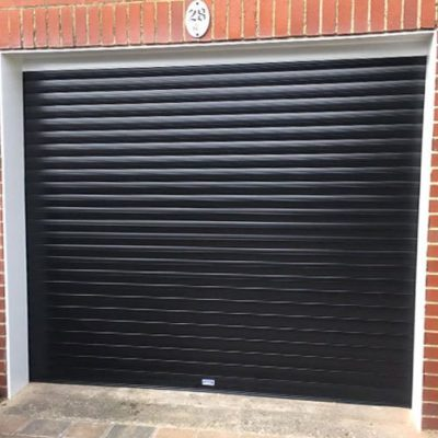 Insulated Roller Garage Door in Black, Bolton
